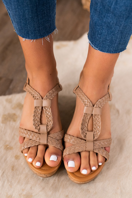 Uptown Girl Braided Taupe Wedges