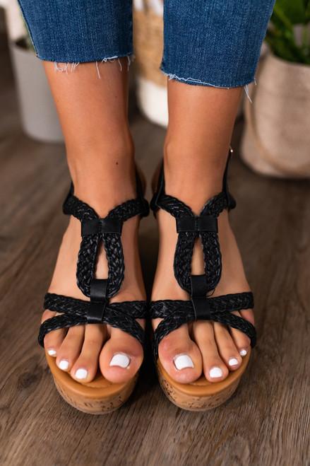 Uptown Girl Braided Black Wedges