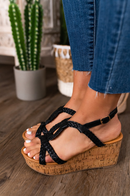 Uptown Girl Braided Black Wedges