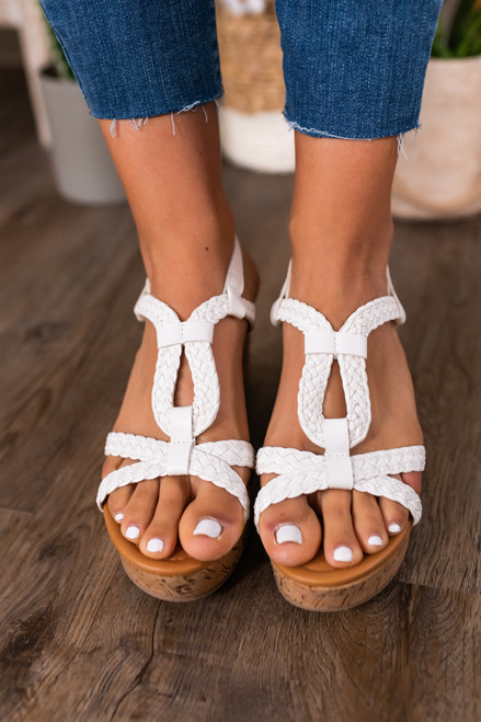 Uptown Girl Braided White Wedges