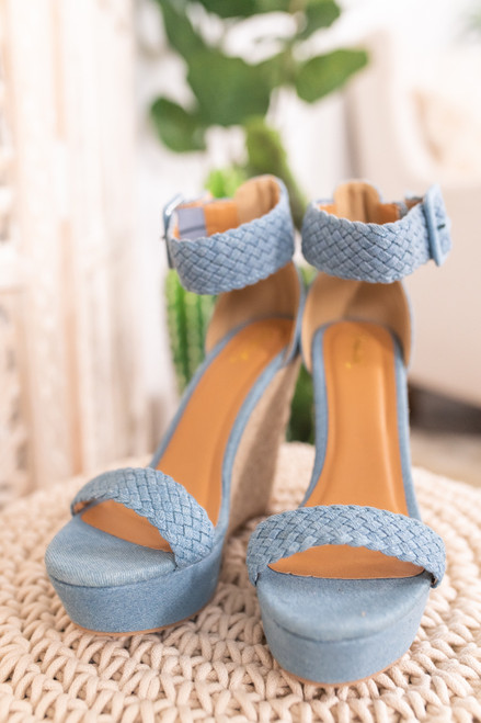 Love Song Blue Espadrille Wedges