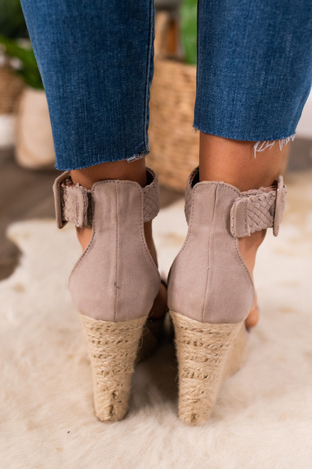 Love Song Taupe Espadrille Wedges