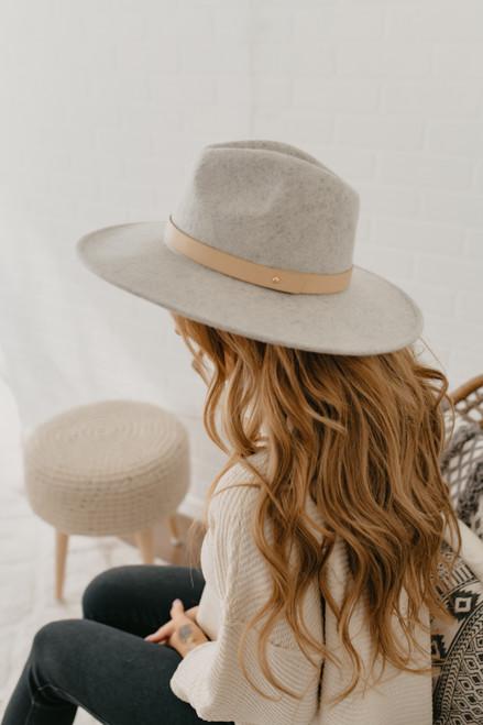 Wide Brim Belted Hat - Heather Grey