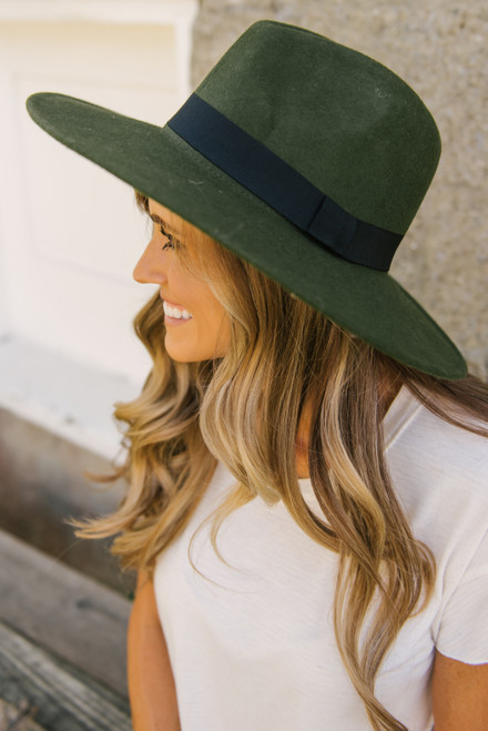 Wide Brim Hat - Olive  - FINAL SALE