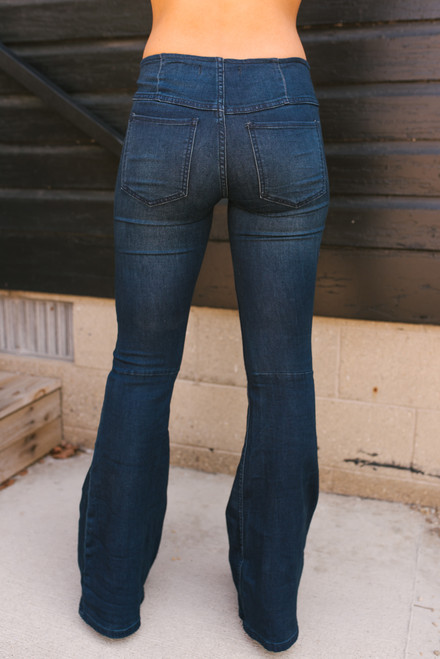 Free People Penny Pull-On Flare Jeans - Rich Blue