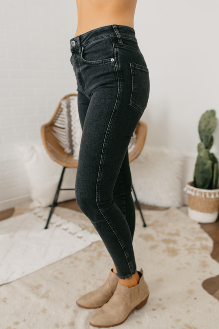 Free People Raw High Rise Jeggings - Black - FINAL SALE