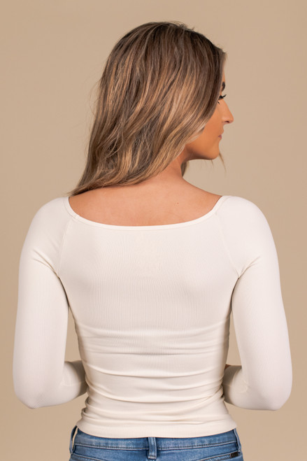 Free People Square Neck Ivory 3/4 Sleeve Top