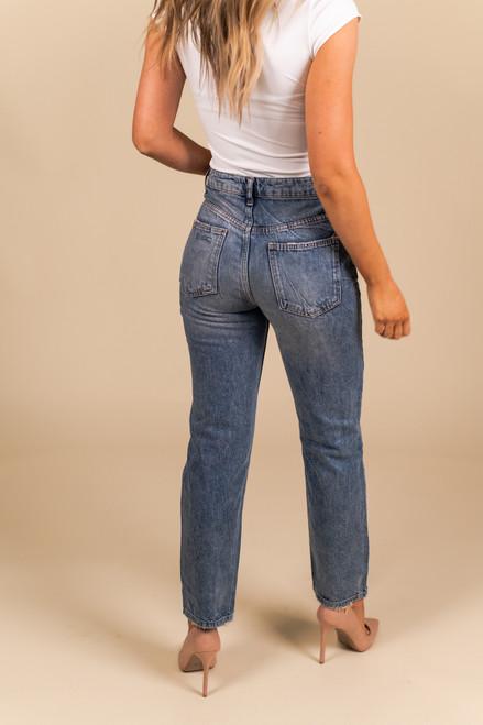 Free People Dakota Vintage Indigo Straight Leg Jeans
