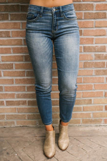Suite Life Faded Skinny Jeans - Medium Wash - FINAL SALE