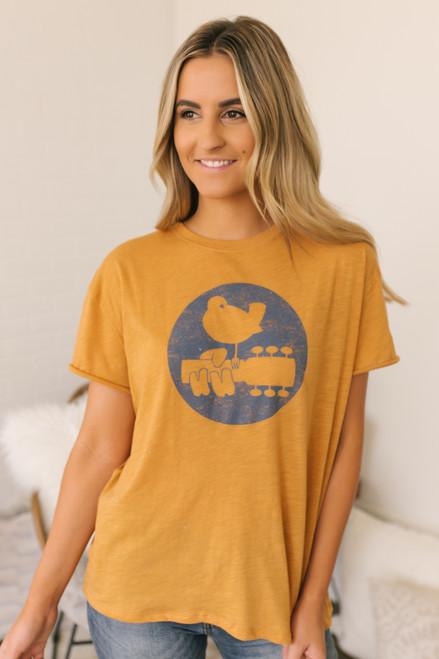 Free People Woodstock Clarity Ringer Tee - Orange - FINAL SALE