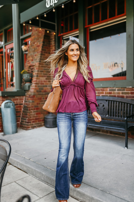 Free People Day Dreaming Blouse - Plum