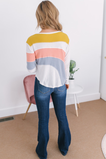 Free People Sun Downer Long Sleeve Top - Ivory Combo - FINAL SALE