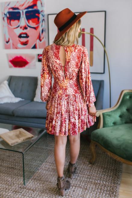 Free People Heartbeats Mini Dress - Rust Combo