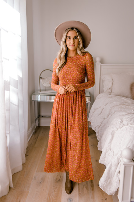 Free People Hello and Goodbye Midi Dress - Rich Combo