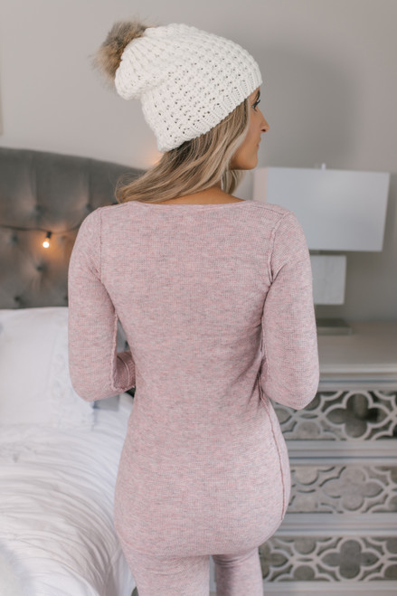 Free People Think Thermal Henley - Pink
