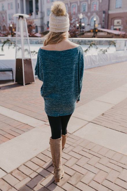 Off the Shoulder Dolman Pullover - Heather Teal