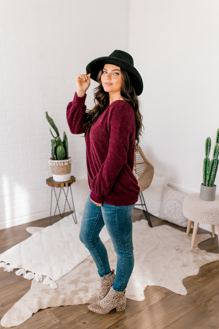 Brushed Eyelash Boatneck Sweater - Wine - FINAL SALE