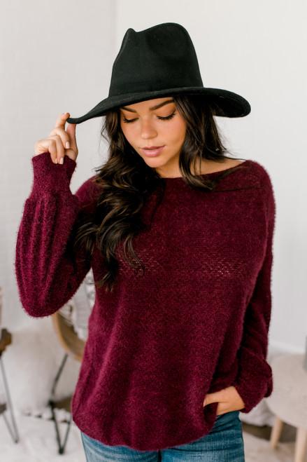 Brushed Eyelash Boatneck Sweater - Wine