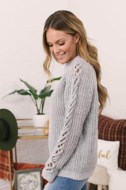 Criss Cross Sleeve Flecked Sweater - Grey