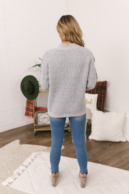 Criss Cross Sleeve Flecked Sweater - Grey