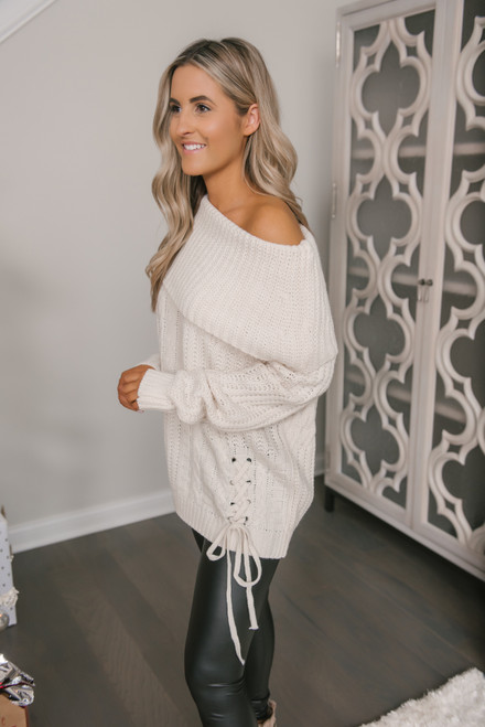 Off the Shoulder Lace Up Sweater - Beige