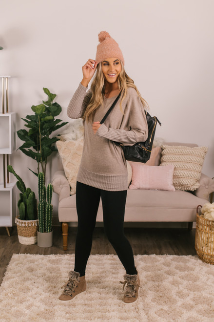 Soft Brushed Taupe Pullover