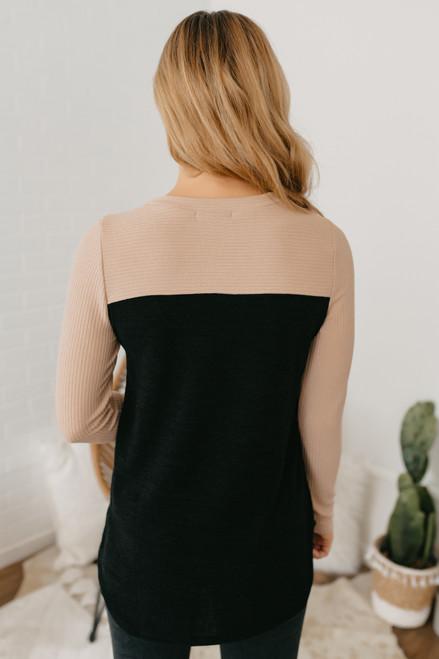 Ribbed Detail Colorblock Pocket Top - Beige/Black