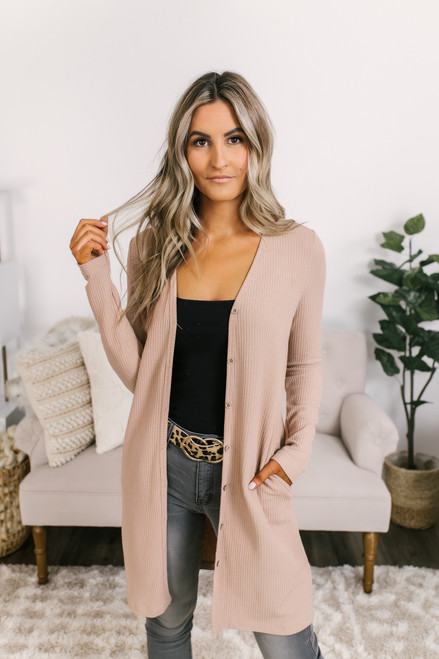 Button Down Ribbed Pocket Cardigan - Beige
