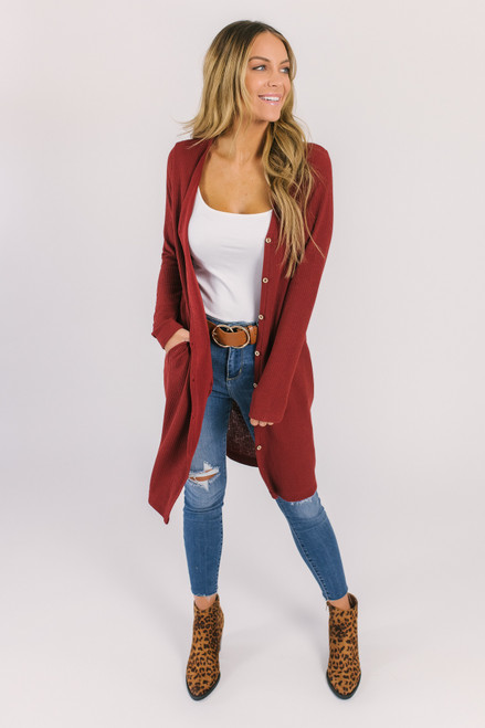 Button Down Ribbed Pocket Cardigan - Rust