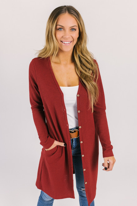 Button Down Ribbed Pocket Cardigan - Rust - FINAL SALE