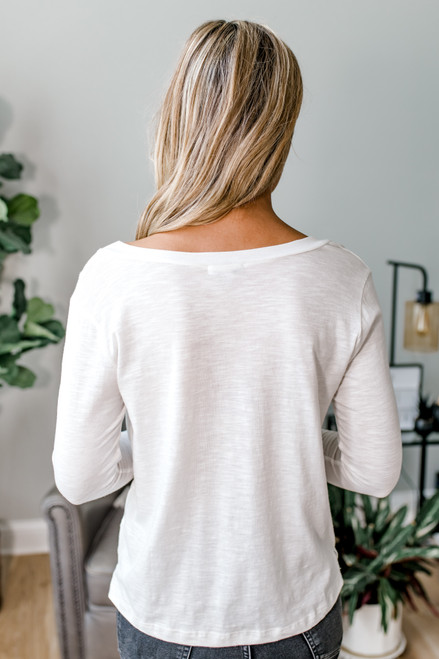 V-Neck Long Sleeve Tee - Ivory