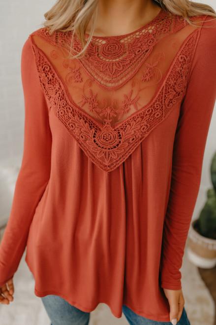 Crochet Lace Detail Top - Rust