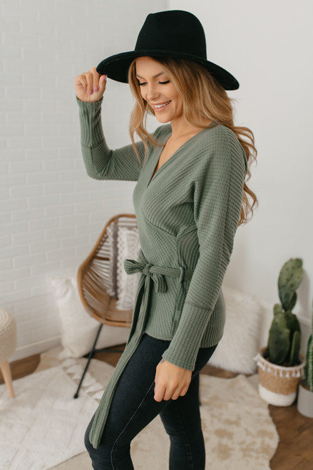 Faux Wrap Brushed Waffle Top - Olive