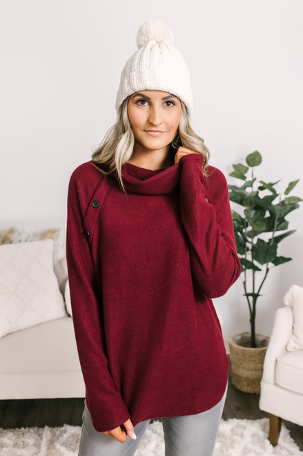 Cowl Button Detail Fleece Pullover - Burgundy