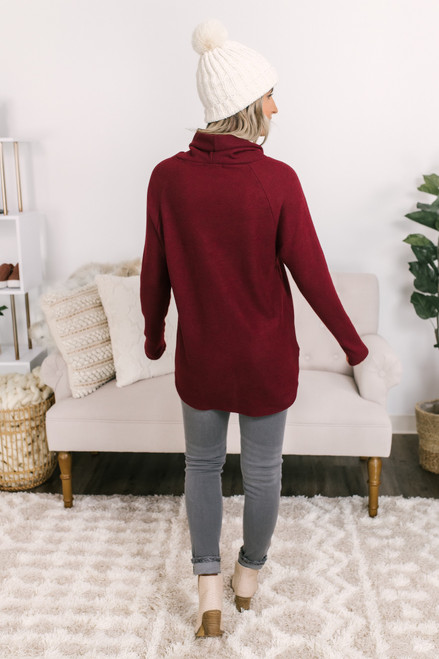 Cowl Button Detail Fleece Pullover - Burgundy - FINAL SALE