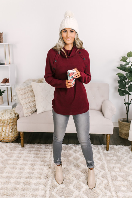 Cowl Button Detail Fleece Pullover - Burgundy - FINAL SALE