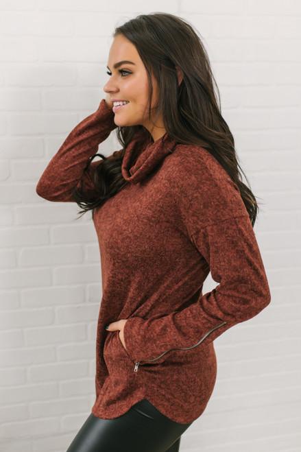 Cowl Neck Zipper Detail Pullover - Heather Rust