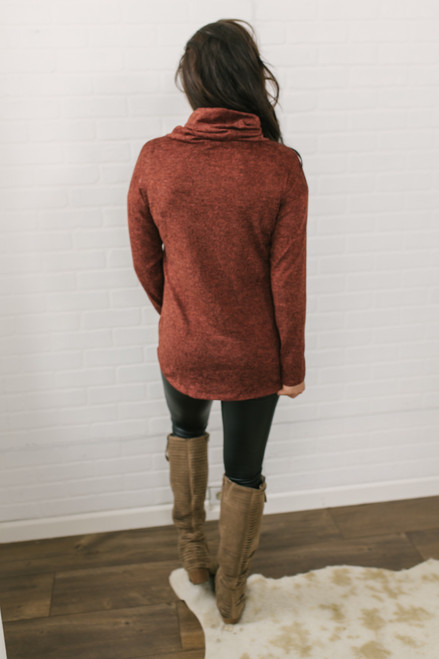 Cowl Neck Zipper Detail Pullover - Heather Rust