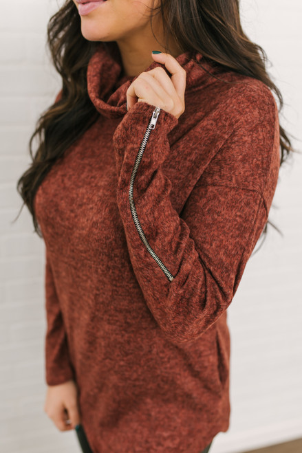 Cowl Neck Zipper Detail Pullover - Heather Rust - FINAL SALE