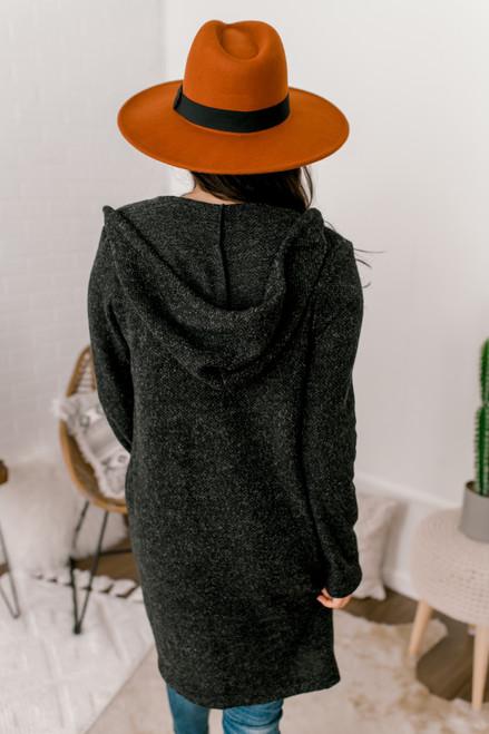 Brushed Hooded Pocket Cardigan - Black