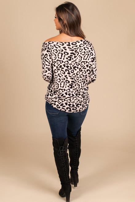Slouchy Leopard Top - Beige