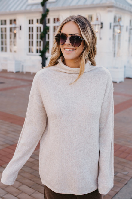 Mock Neck Sweater - Heather Beige