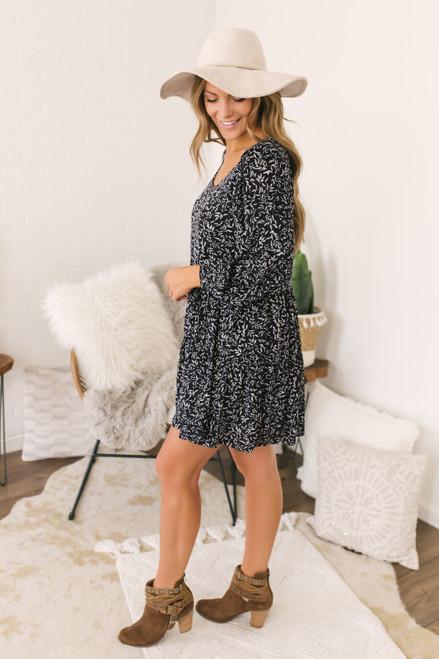 Ruffle Hem Printed Dress - Navy  - FINAL SALE