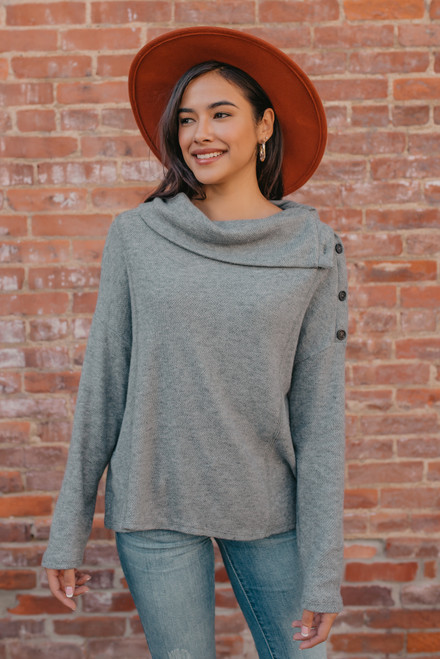 Button Detail Cowl Neck Sweater - Grey
