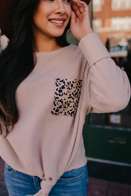 Brushed Leopard Pocket Knot Top - Taupe