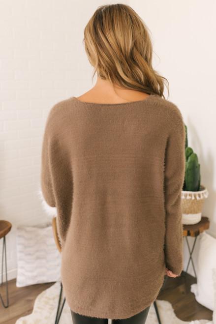 V-Neck Fuzzy Soft Sweater - Mocha  - FINAL SALE
