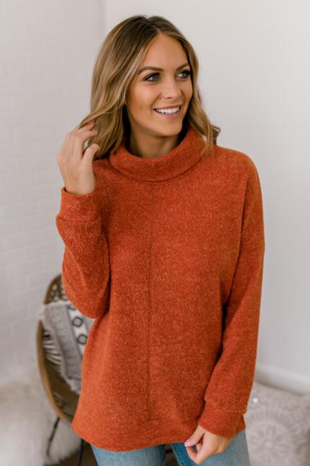 Seam Detail Turtleneck Sweater - Rust