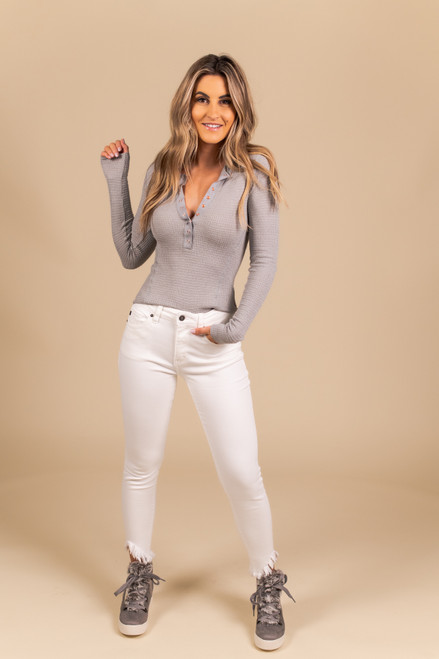 Free People One of the Girls Grey Henley