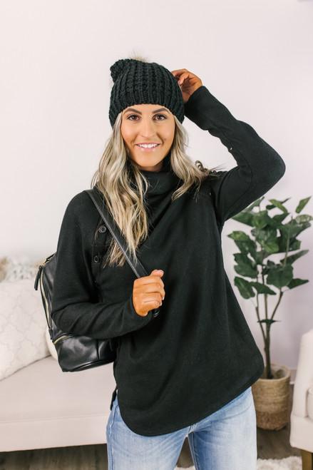 Cowl Button Detail Fleece Pullover - Black