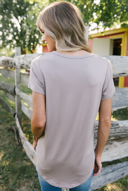 Thankful V-Neck Graphic Tee - Mocha  - FINAL SALE